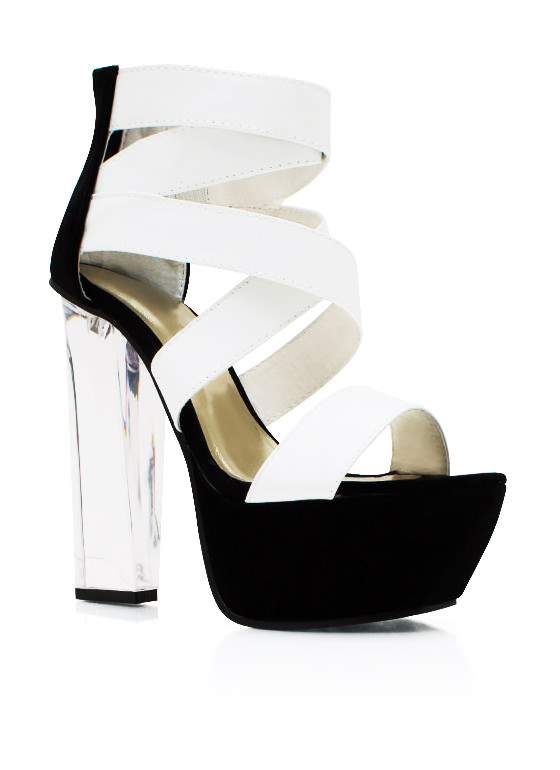 Clearly Contrast Lucite Heels WHITE