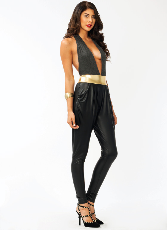 Contrasting Halter Warrior Jumpsuit CHARCOAL