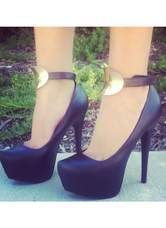 Metal Plate Ankle Strap Platforms BLACK