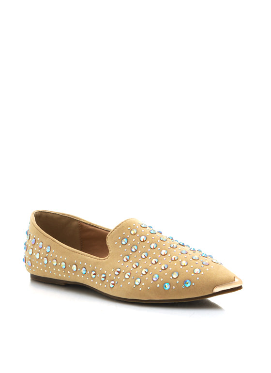 Sparkle On Pointy Flats BEIGE