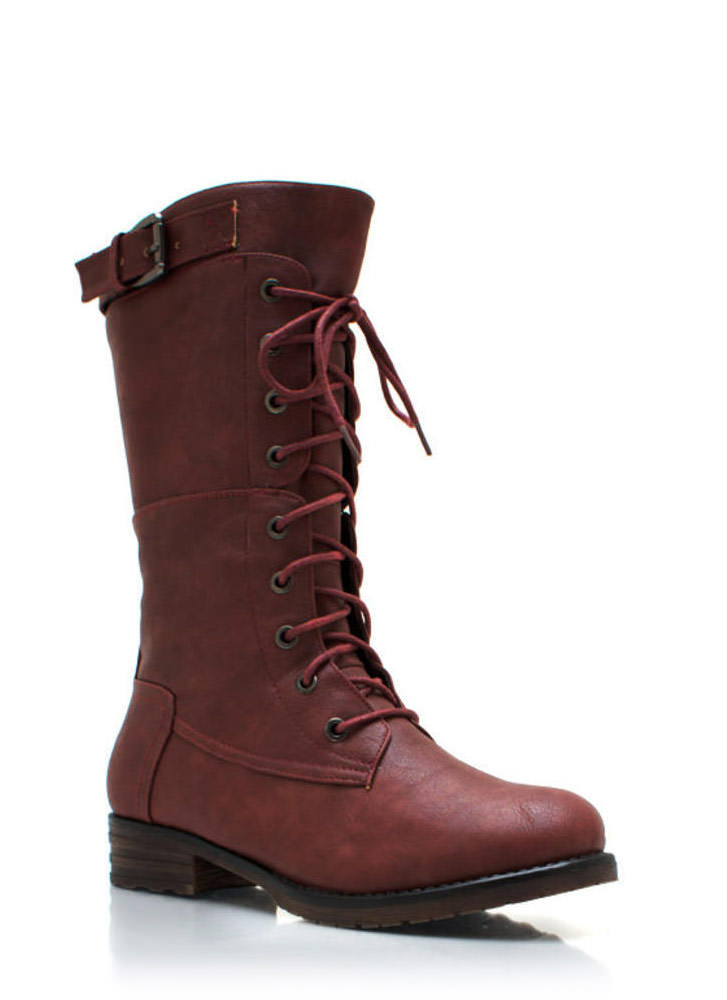 Buckle Down Combat Boots BURGUNDY