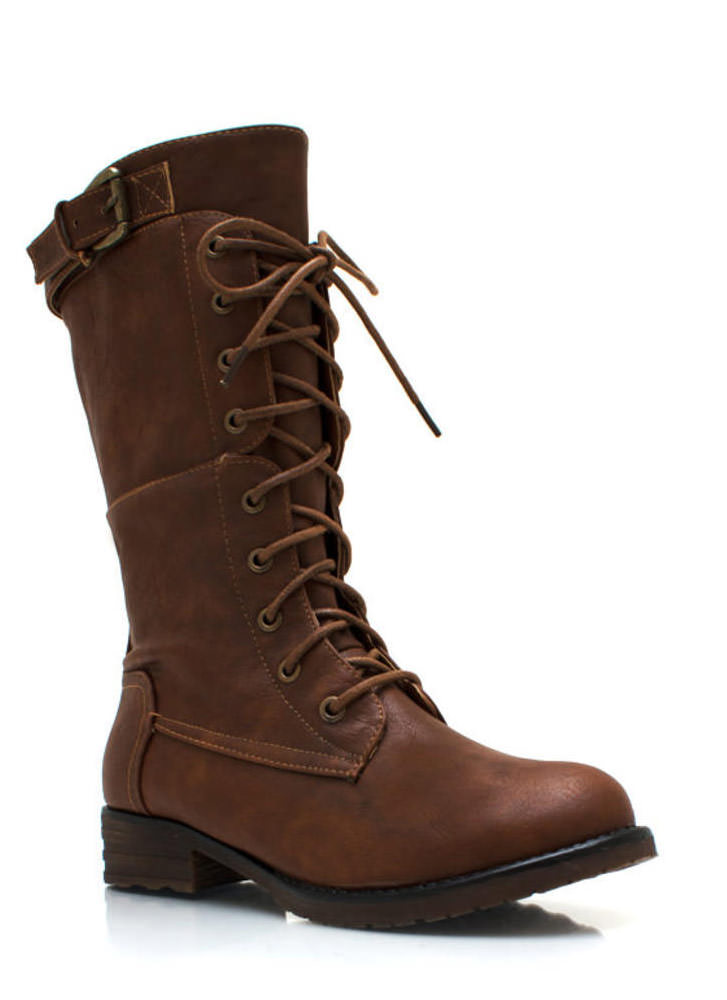 Buckle Down Combat Boots WHISKY