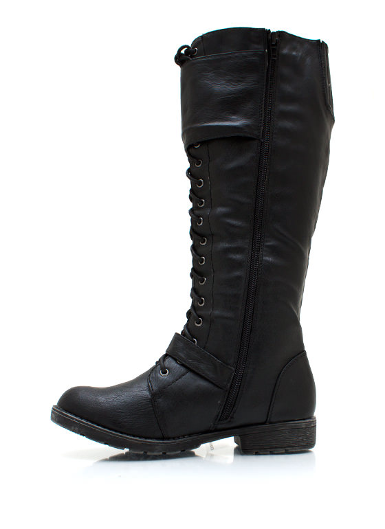 Laced In Buckle Boots BLACK