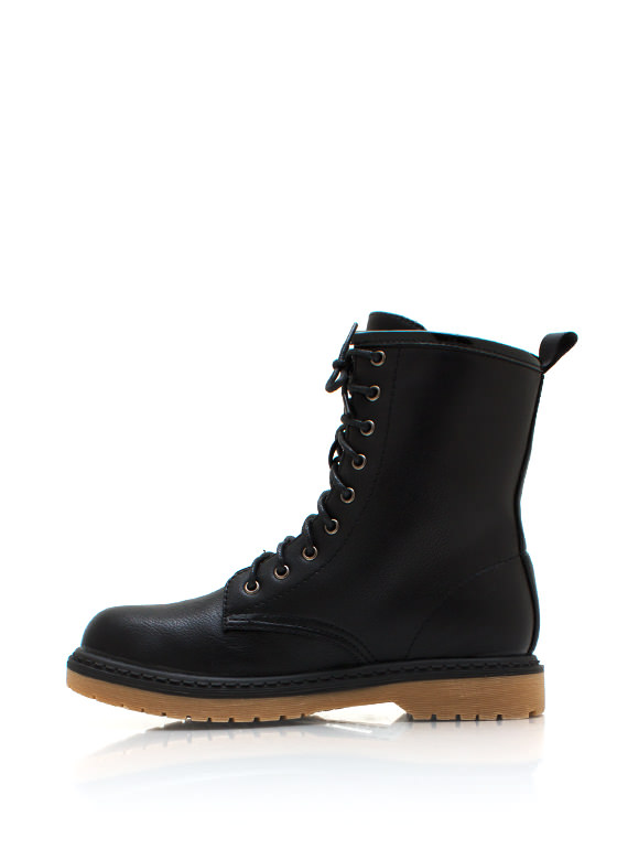 Faux Leather Combat Boots BLACK