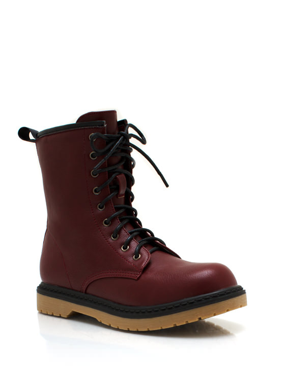 Faux Leather Combat Boots CHERRYRED