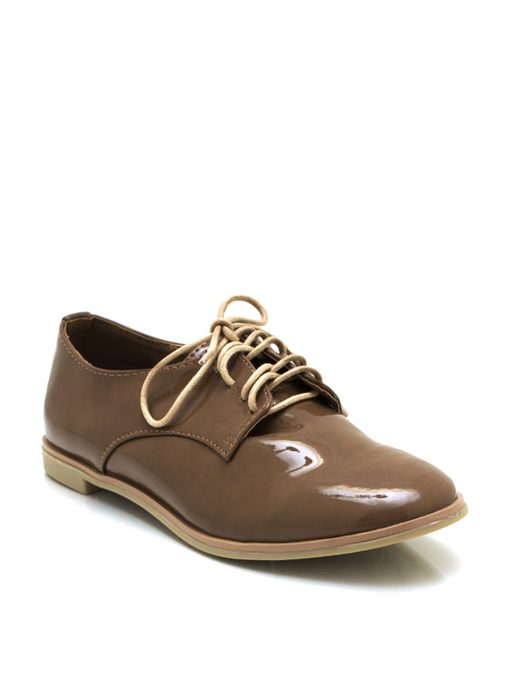 Dapper Faux Patent Oxfords NUDE