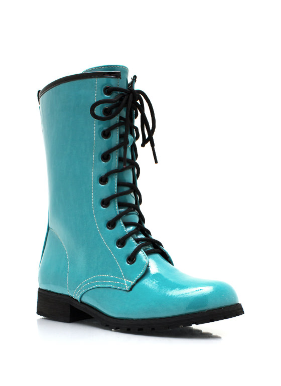 Faux Patent Combat Boots BLUE (Final Sale)