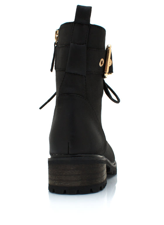 Buckled Up Faux Leather Boots BLACK