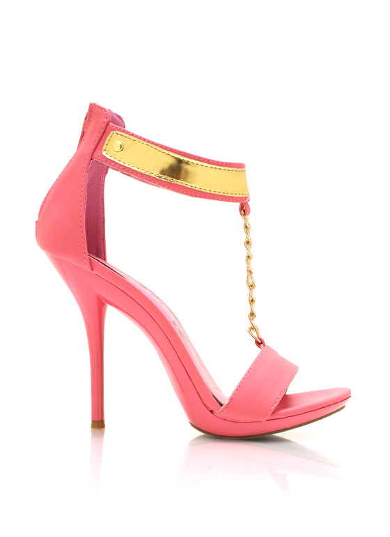 Faux Leather T Strap Heels CORAL