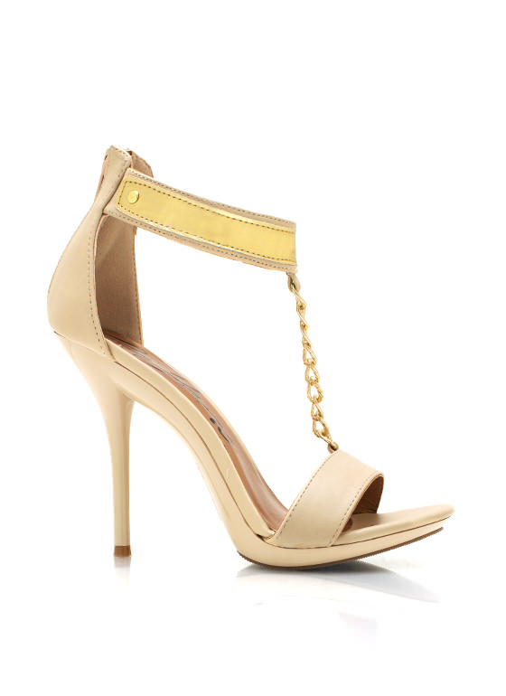 Faux Leather T Strap Heels NUDE