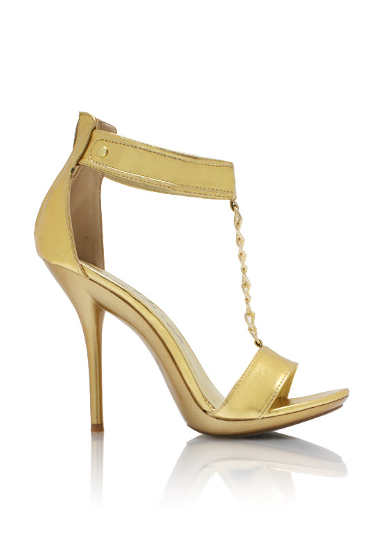 Metallic Faux Leather T Strap Heels GOLD