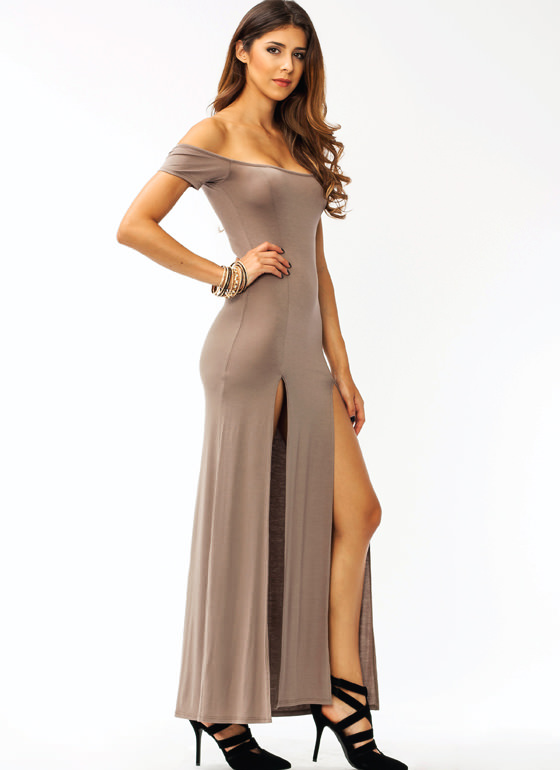 Sassy Double Slit Maxi Dress MOCHA