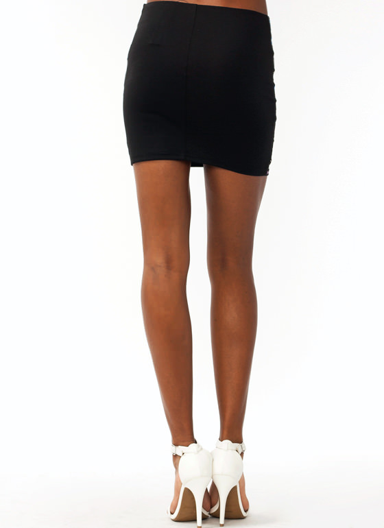 Tick Tack Studded Mini Skirt BLACK