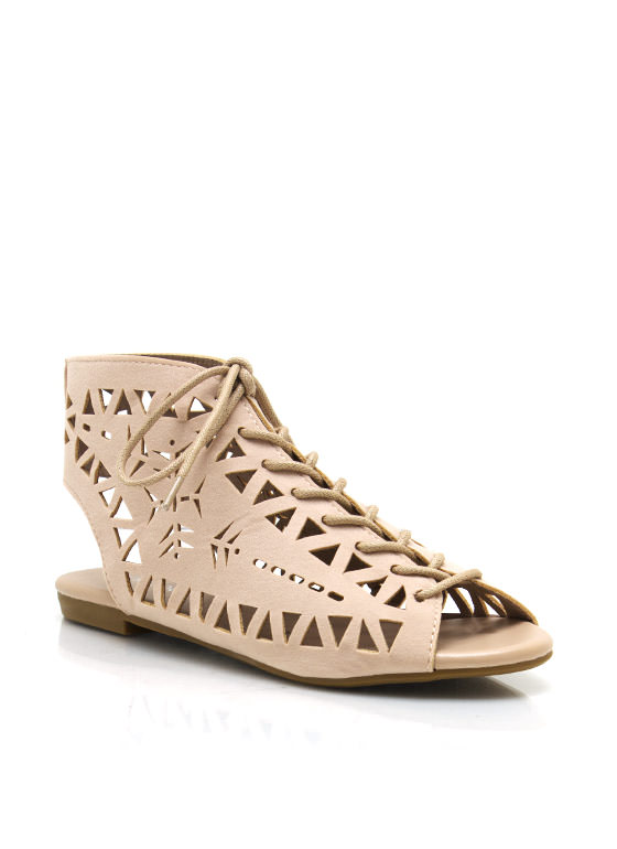 Triangle Cut Out Sandals NUDE