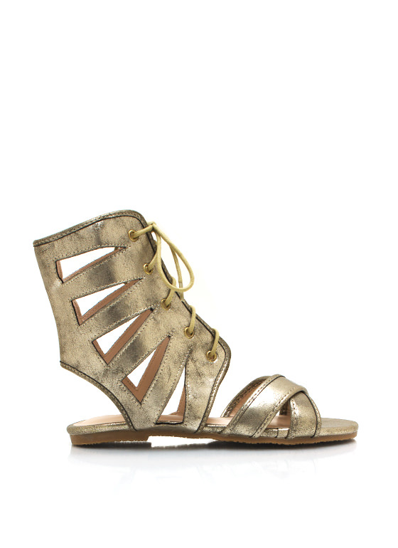 Metallic Cut Out Lace Up Sandals GOLD