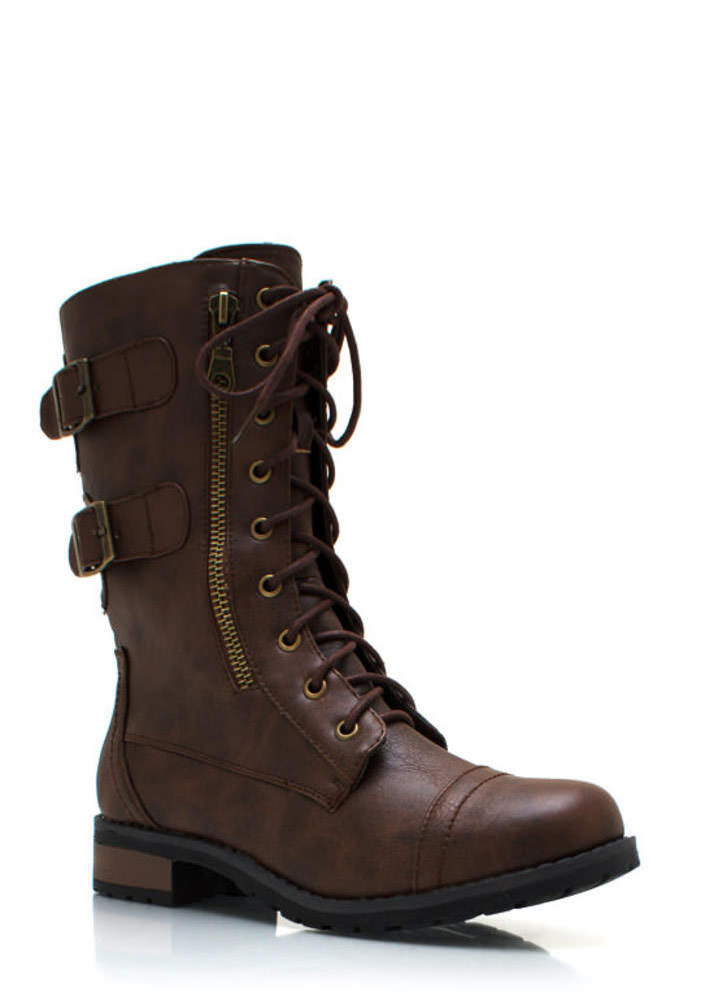 Double Buckle Military Boots COGNAC