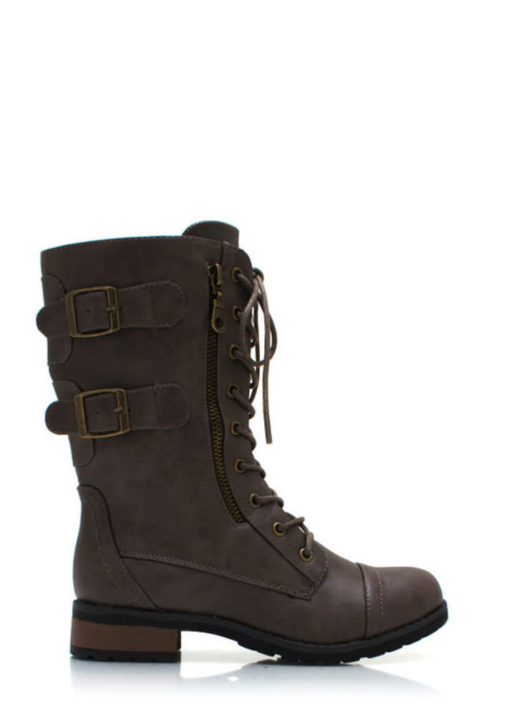 Double Buckle Military Boots GREY