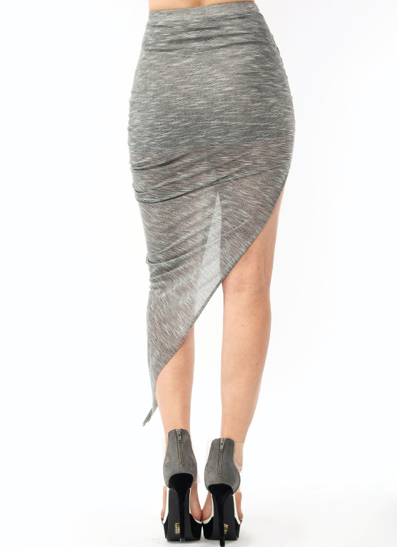 Melange Ruched Draped Skirt GREY