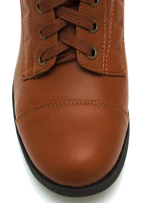 Quilted Faux Leather Dress Boots COGNAC