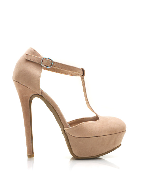 Pin Up T Strap Platform Pumps NUDE