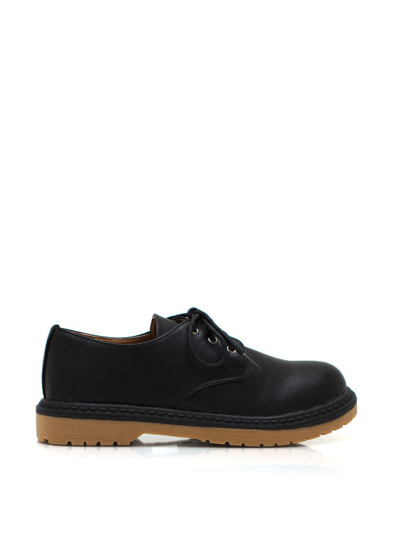 Faux Leather Rounded Oxford BLACK (Final Sale)