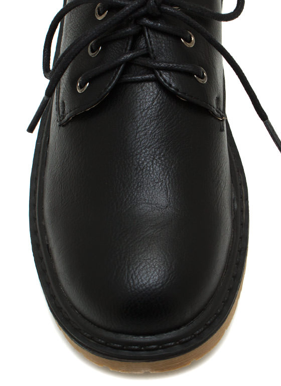 Faux Leather Rounded Oxford BLACK