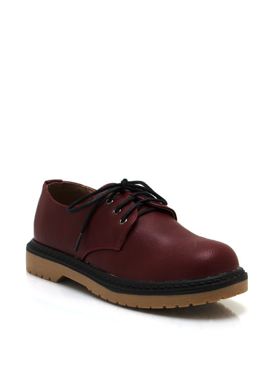 Faux Leather Rounded Oxford CHERRYRED