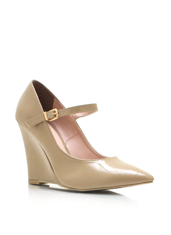 Pointy Mary Jane Wedges NATURAL