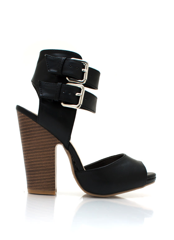 Cutting Edge Chunky Buckle Heels BLACK