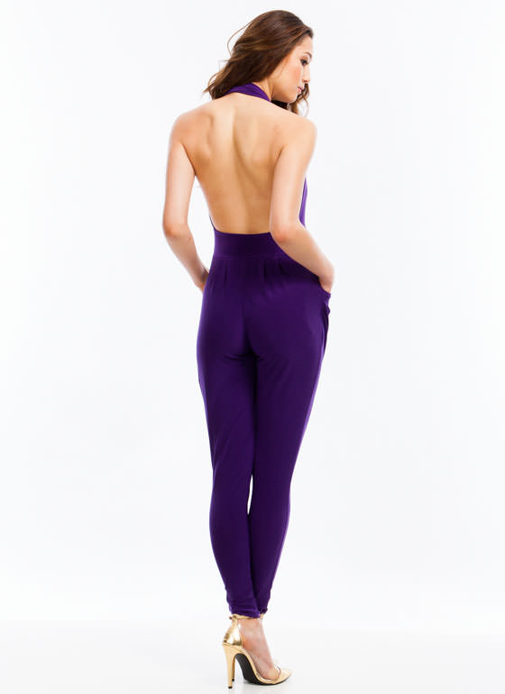 Hot Halter Harem Jumpsuit PURPLE