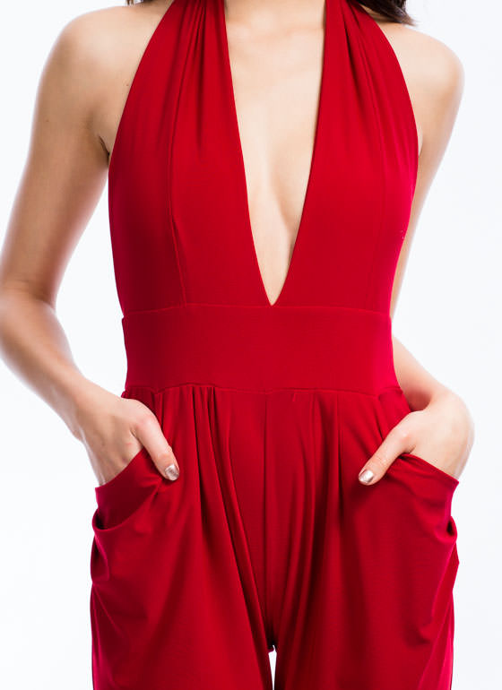 Hot Halter Harem Jumpsuit RED