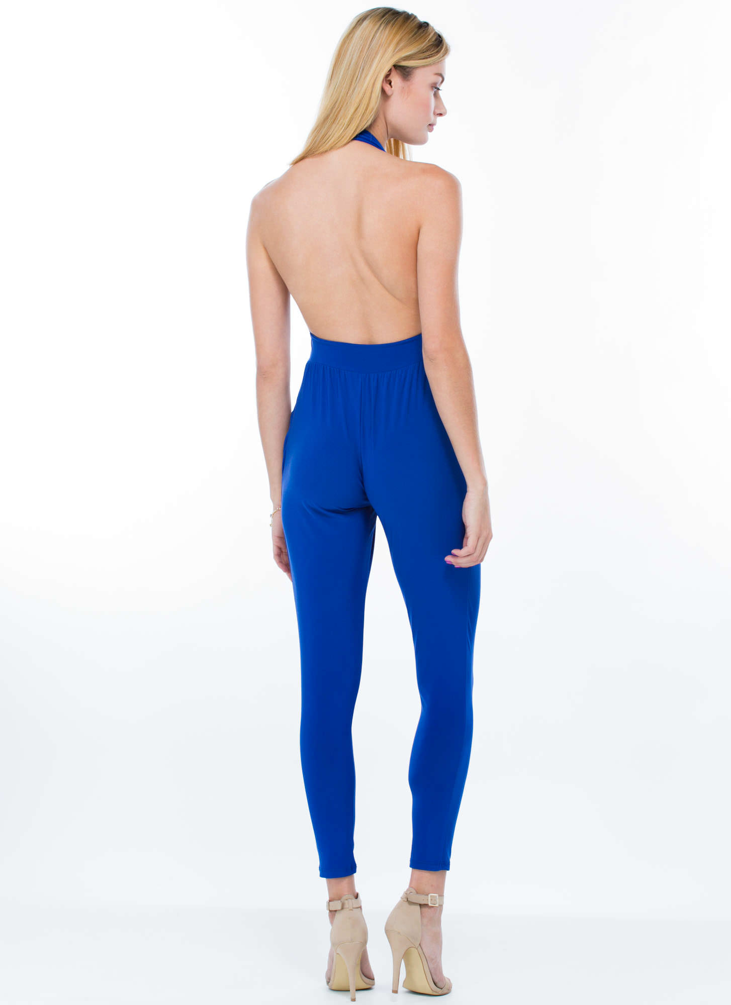 Hot Halter Harem Jumpsuit ROYAL (Final Sale)