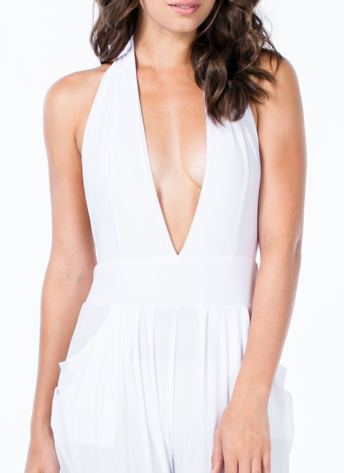 Hot Halter Harem Jumpsuit WHITE
