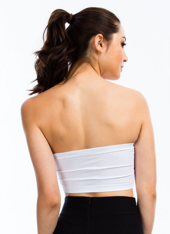 Ruched Bandeau WHITE