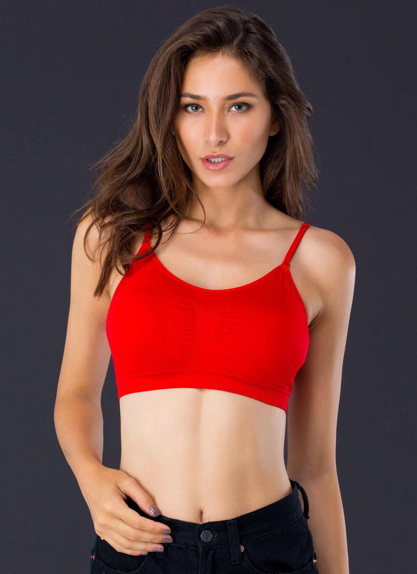 I Was Born Ready Ruched Bralette CHERRYRED