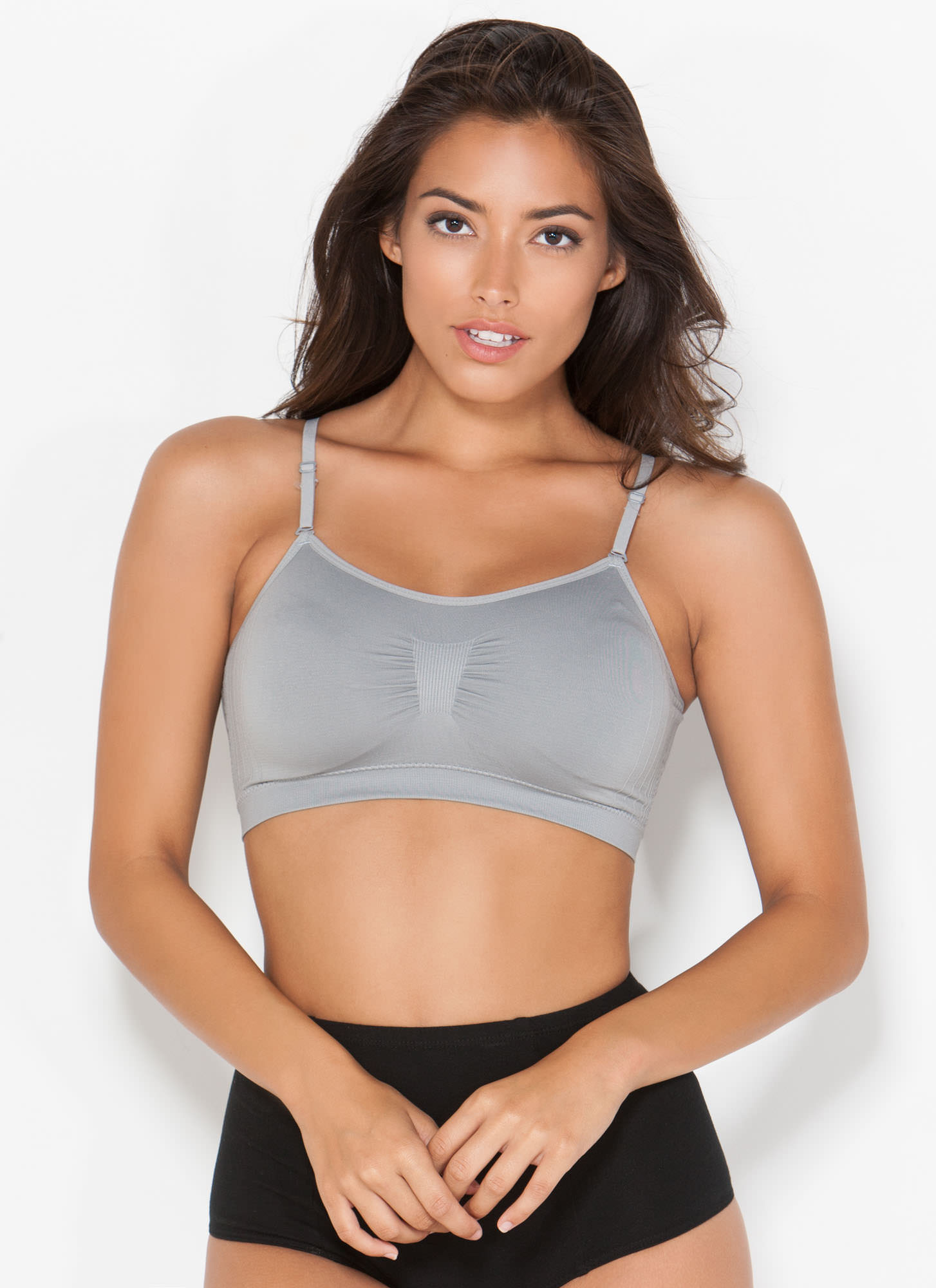 I Was Born Ready Ruched Bralette GREY