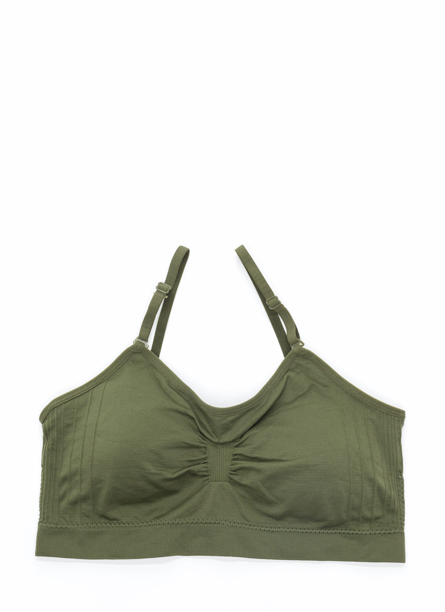 I Was Born Ready Ruched Bralette OLIVE