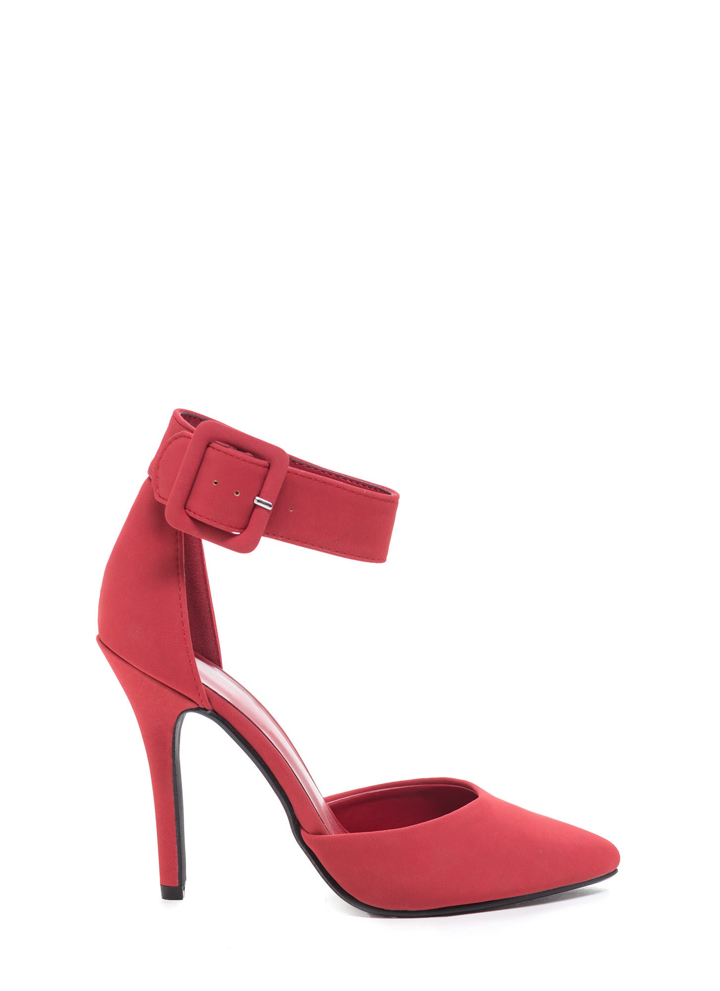 Point The Way Buckle Pumps RED