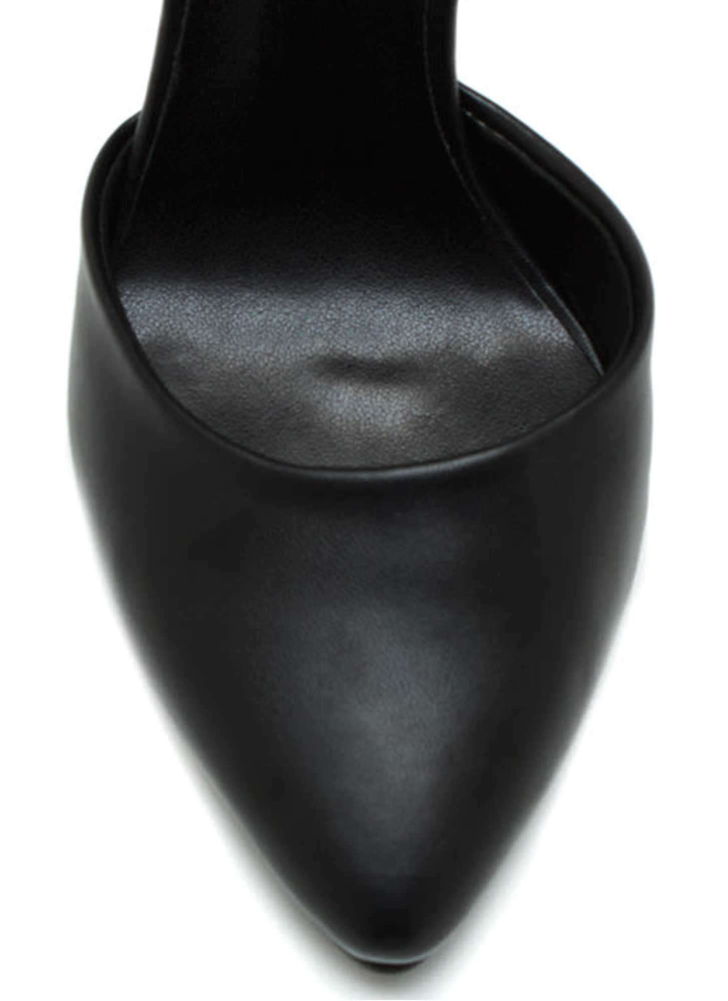 Point The Way Faux Leather Pumps BLACK