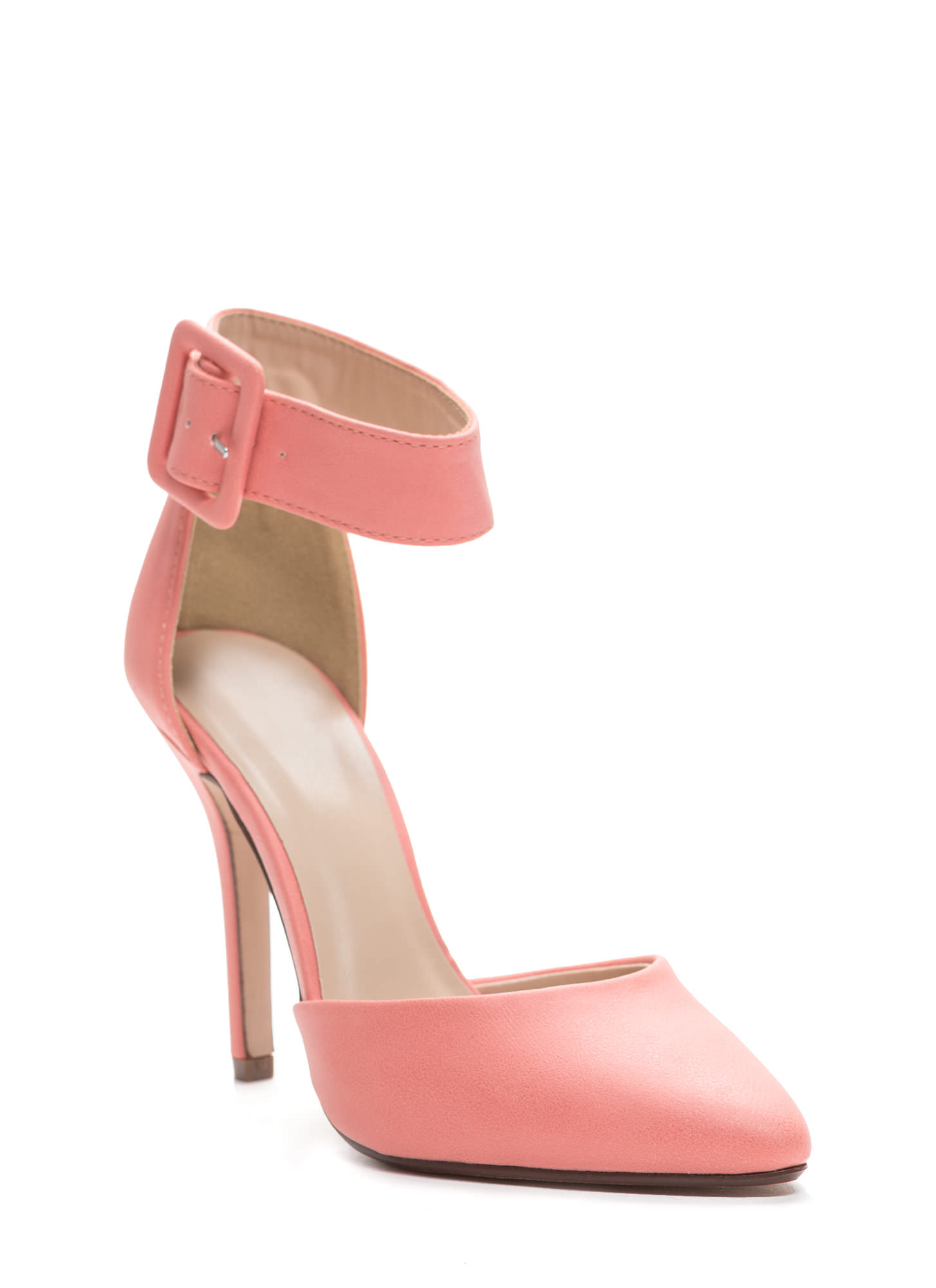 Point The Way Faux Leather Pumps SALMON (Final Sale)