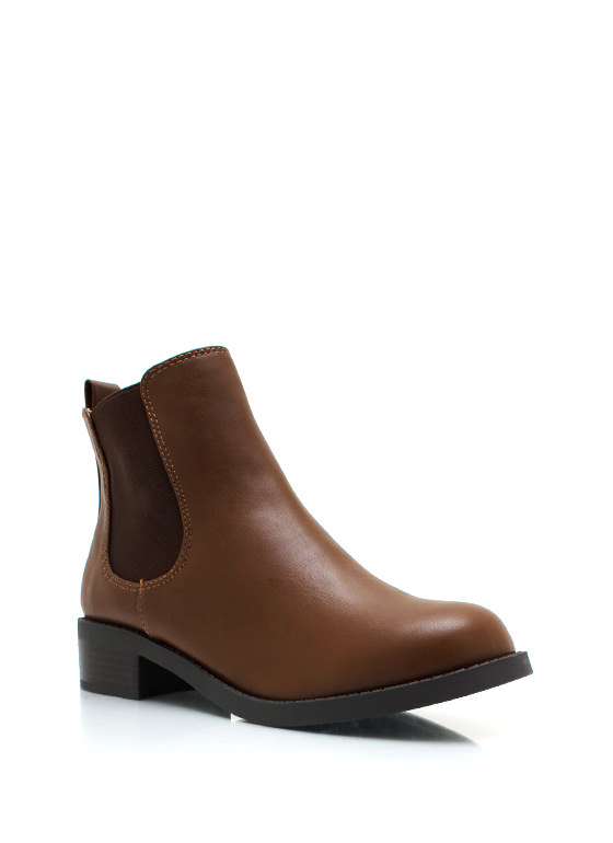 Faux Leather Chelsea Boots TAN