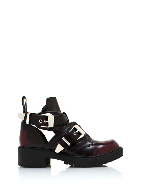 Shiny Cut Out Grunge Boots BURGUNDY