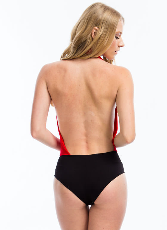 Come To The Halter Bodysuit RED