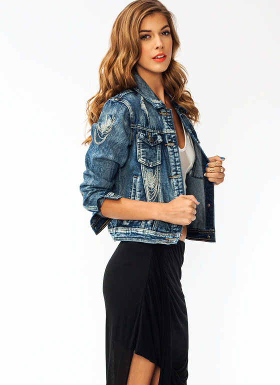 Off The Chain Denim Jacket BLUE