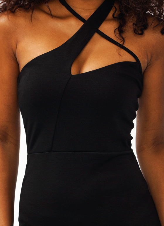 Double Crossed Bodycon Dress BLACK