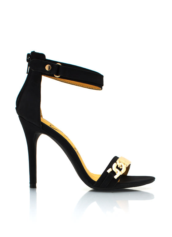 Metal Plate Single Sole Heels BLACK