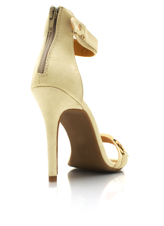 Metal Plate Single Sole Heels NUDE