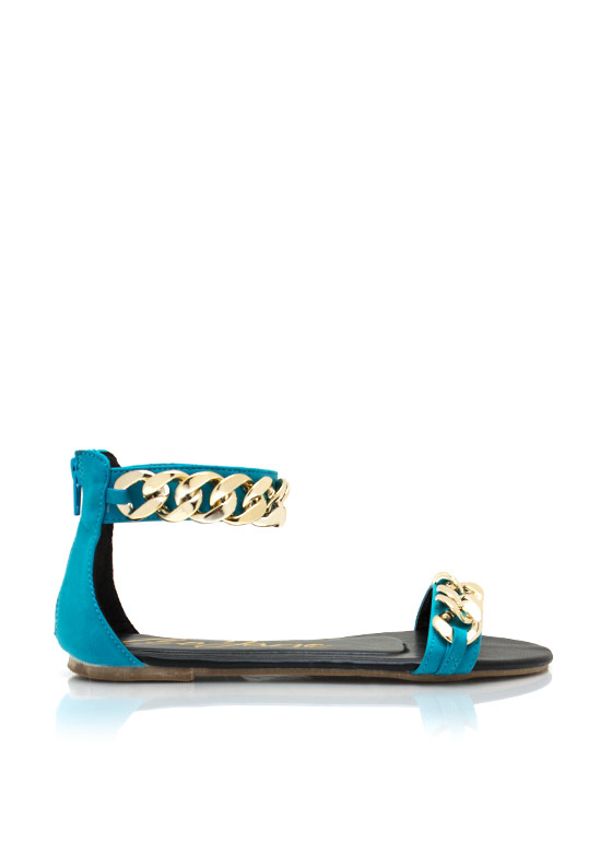 Chunky Chain Ankle Strap Sandals BLUE