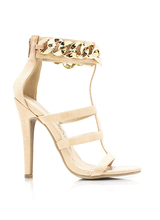 Chunky Chain Strappy Heels NUDE