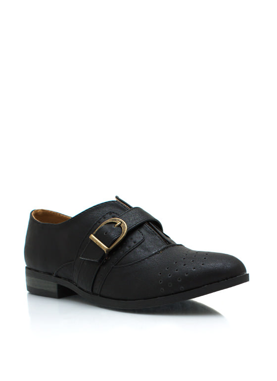 Faux Leather Buckled Oxfords BLACK